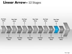 Flow Ppt Background Serialized Representation Of 12 Arrows Graphic