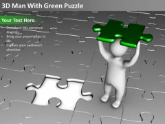 Flowchart For Business 3d Man With Green Puzzle PowerPoint Slides
