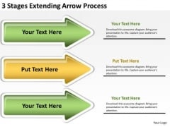 Flowchart Parallel Process 3 Stages Extending Arrow PowerPoint Slides