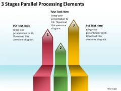 Flowchart Parallel Process 3 Stages Processing Elements PowerPoint Slides