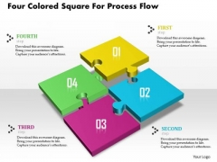 Four Colored Square For Process Flow Presentation Template