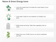 Four Energy Icons Bulb Home Dustbin And Plant Ppt Slides Graphics