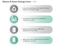 Four Energy Icons For Recycle Factory And Waste With Battery Ppt Slides Graphics
