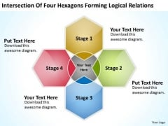Four Hexagons Forming Logical Relations Business Plan PowerPoint Templates
