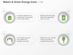 Four Icons For Green Energy Water Air Paper And Waste Management Ppt Slides Graphics
