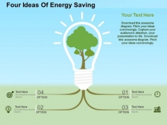 Four Ideas Of Energy Saving PowerPoint Template