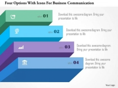Four Options With Icons For Business Communication PowerPoint Template