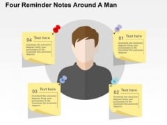 Four Reminder Notes Around A Man PowerPoint Templates