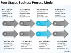 Four Stages Business Process Model Drafting Plan PowerPoint Templates