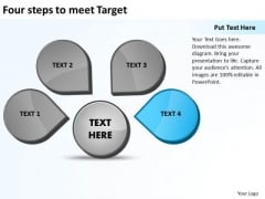 Four Steps To Meet Target Ppt Relative Cycle Arrow Process PowerPoint Slides