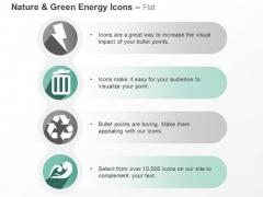 Four Vertical Green Energy Symbols Ppt Slides Graphics