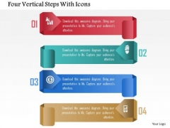 Four Vertical Steps With Icons PowerPoint Template