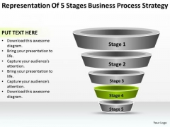 Free Business Charts Of 5 Stages Process Strategy PowerPoint Templates