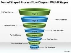 Funnel Shaped Process Flow Diagram With 8 Stages Ppt Developing Business Plan PowerPoint Slides