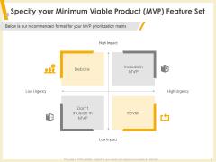 Gaining Product Market Solution Fit Specify Your Minimum Viable Product MVP Feature Set Sample PDF