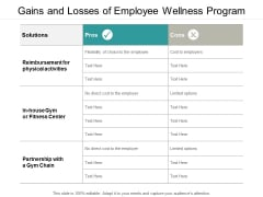 Gains And Losses Of Employee Wellness Program Ppt PowerPoint Presentation Infographics Vector
