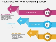 Gear Arrows With Icons For Planning Strategy Powerpoint Template