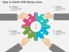 Gear In Hands With Money Icons Powerpoint Templates