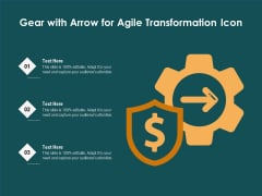 Gear With Arrow For Agile Transformation Icon Ppt PowerPoint Presentation Show Portfolio PDF