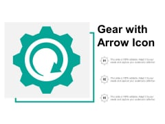 Gear With Arrow Icon Ppt Powerpoint Presentation Ideas Influencers