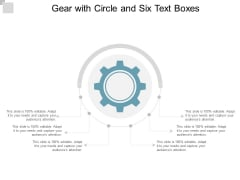Gear With Circle And Six Text Boxes Ppt PowerPoint Presentation File Background Designs