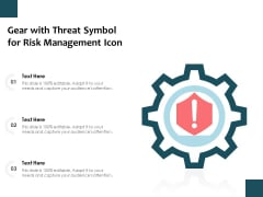 Gear With Threat Symbol For Risk Management Icon Ppt PowerPoint Presentation Gallery Layouts PDF