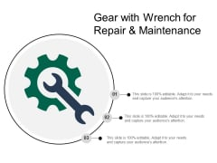 Gear With Wrench For Repair And Maintenance Ppt Powerpoint Presentation File Skills
