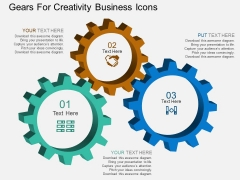 Gears For Creativity Business Icons Powerpoint Template