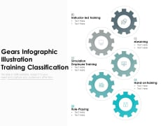 Gears Infographic Illustration Training Classification Ppt PowerPoint Presentation Show Deck PDF