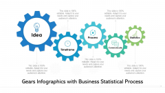 Gears Infographics With Business Statistical Process Ppt PowerPoint Presentation File Display PDF