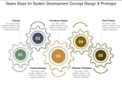 Gears Steps For System Development Concept Design And Prototype Ppt PowerPoint Presentation Infographic Template Information