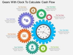 Gears With Clock To Calculate Cash Flow Powerpoint Template