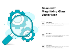 Gears With Magnifying Glass Vector Icon Ppt PowerPoint Presentation Gallery Designs PDF