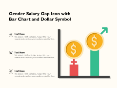 Gender Salary Gap Icon With Bar Chart And Dollar Symbol Ppt PowerPoint Presentation Model Graphic Tips PDF
