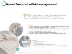 General Provisions In Distributor Agreement Ppt PowerPoint Presentation Professional Summary