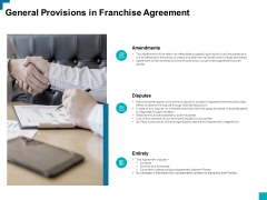 General Provisions In Franchise Agreement Ppt PowerPoint Presentation Ideas Layouts