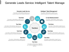 Generate Leads Service Intelligent Talent Management Co Op Reimbursement Ppt PowerPoint Presentation File Design Ideas