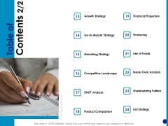 Generating Financial Support Table Of Contents Financing Ppt Show Graphics Template PDF
