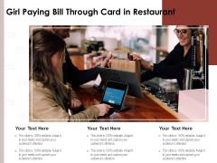 Girl Paying Bill Through Card In Restaurant Ppt PowerPoint Presentation Ideas Elements PDF