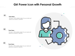 Girl Power Icon With Personal Growth Ppt PowerPoint Presentation Outline Images PDF