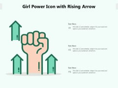 Girl Power Icon With Rising Arrow Ppt PowerPoint Presentation Gallery Example PDF