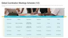 Global Coordination Meetings Schedule Purpose Ppt Layouts Images PDF
