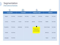 Global Market Segmentation Segmentation International Markets Ppt PowerPoint Presentation Styles Smartart PDF