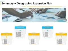 Global Organization Marketing Strategy Development Summary Geographic Expansion Plan Icons PDF