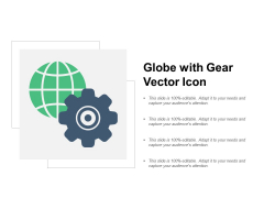 Globe With Gear Vector Icon Ppt Powerpoint Presentation Ideas Influencers