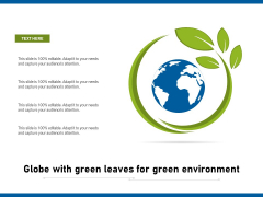 Globe With Green Leaves For Green Environment Ppt PowerPoint Presentation Ideas Demonstration PDF