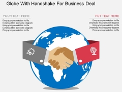 Globe With Handshake For Business Deal Powerpoint Template