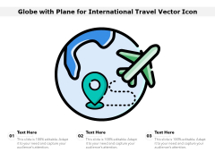 Globe With Plane For International Travel Vector Icon Ppt PowerPoint Presentation Gallery Master Slide PDF