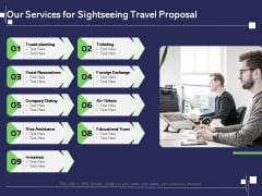Globetrotting Tour Our Services For Sightseeing Travel Proposal Ppt PowerPoint Presentation Gallery Layout PDF