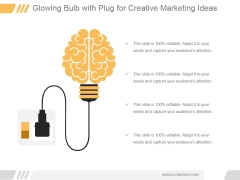 Glowing Bulb With Plug For Creative Marketing Ppt PowerPoint Presentation Designs Download